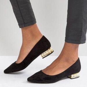 2 X HP 🎀Pearl & Gold Heel Ballet Flats